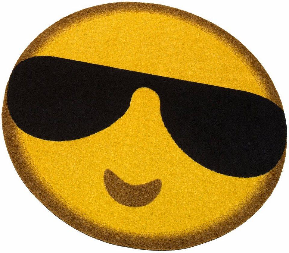 Teppich, rund, my home, »Emoji Sunglasses«, getuftet in Gelb-Schwarz