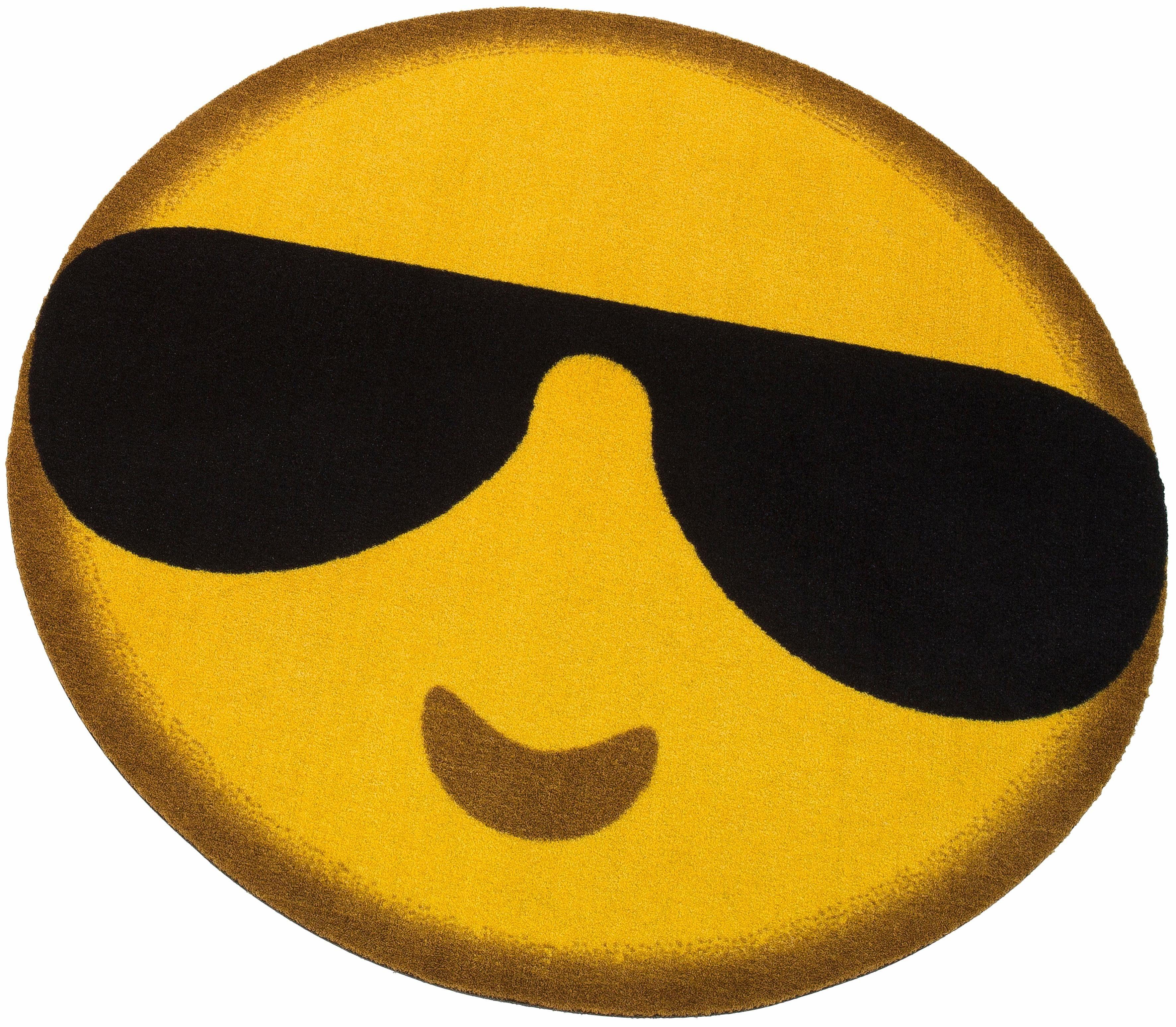 Teppich »Emoji Sunglasses«, my home, rund, Höhe 5 mm