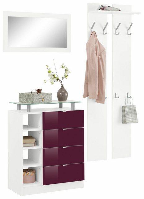 Garderoben Sets - borchardt Möbel Garderoben Set »Dolly«, (Set, 3 tlg), mit Metallgriffen und Hochglanzfronten  - Onlineshop OTTO