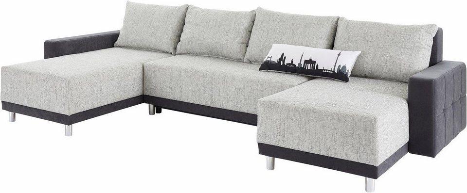 Collection AB Wohnlandschaft mit großer Recamiere, Bettfunktion und Federkern in schwarz/schwarz-weiß