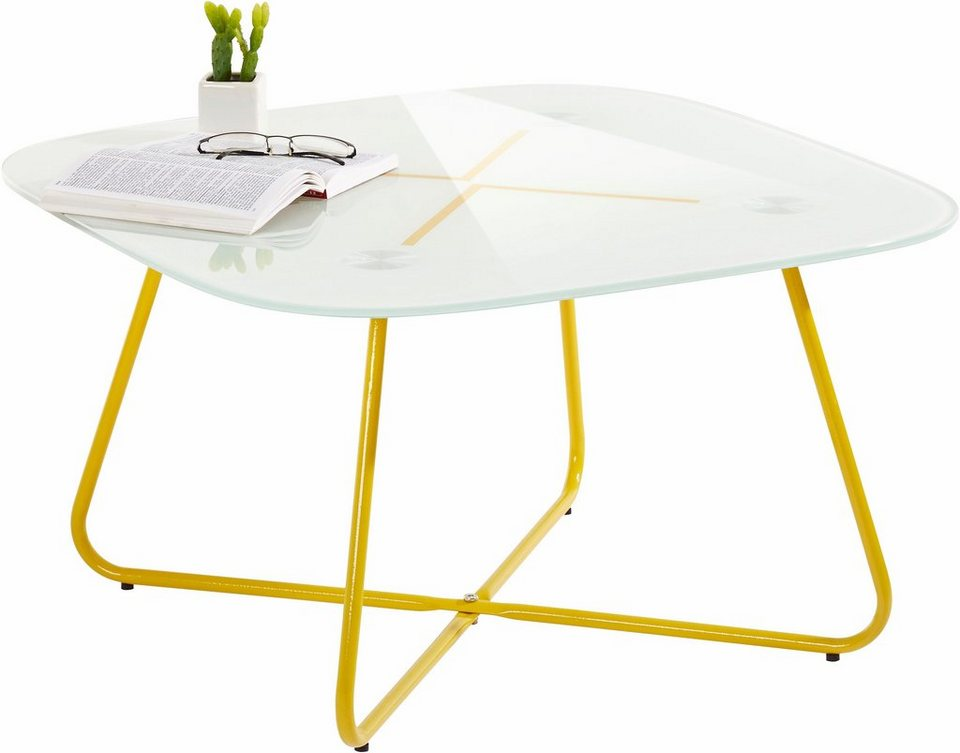 Couchtisch, mit farbiger Glasplatte in gelb/weiß