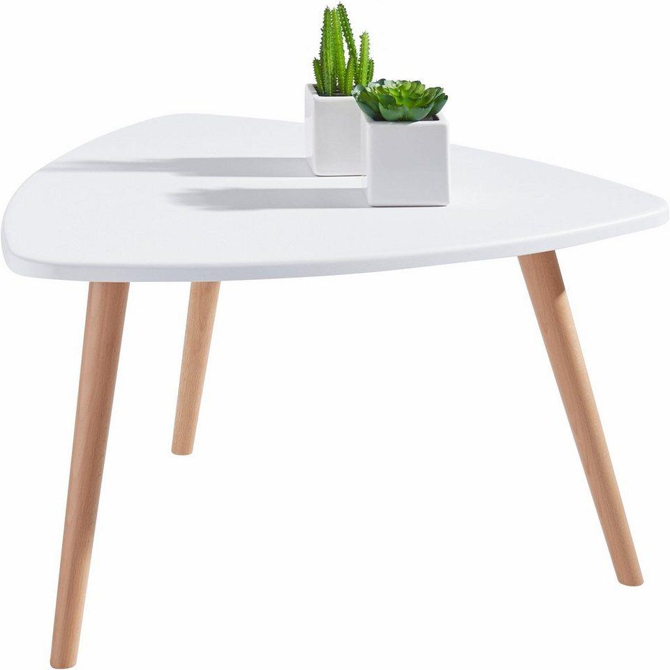 Satztisch in Wankelform in weiß/buche