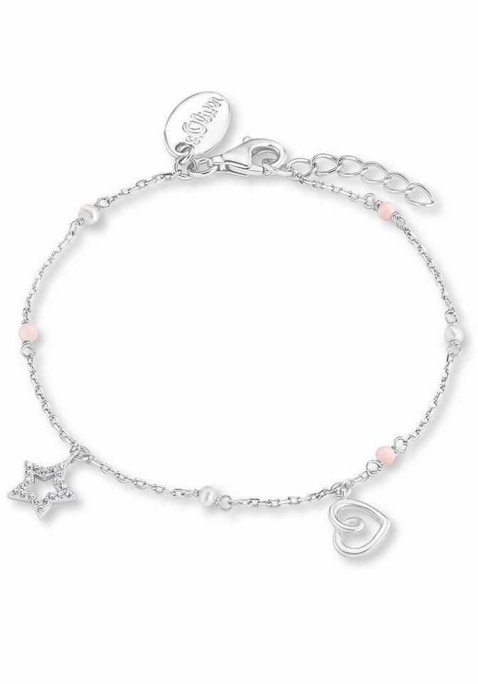 s.Oliver RED LABEL Junior Armband »Herz, Stern, 2012657« mit Zirkonia und Süßwasserzuchtperlen in Silber 925-rosa-weiß