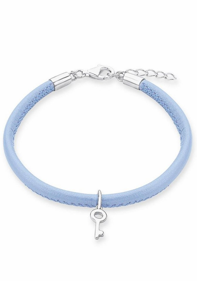 s.Oliver RED LABEL Junior Lederarmband »Schlüssel, 2012806« in Silber 925-blau