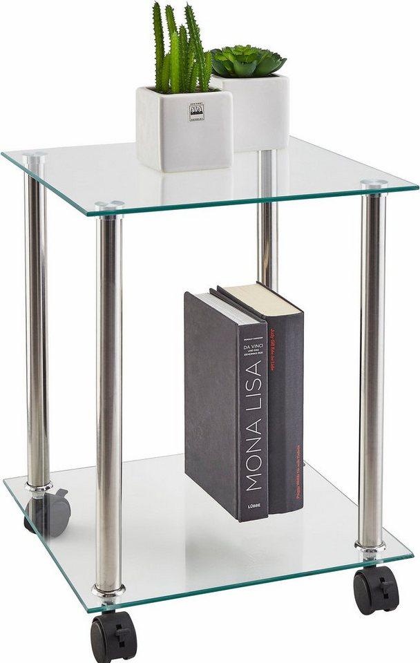 Haku Beistelltisch in moderner Glasoptik, auf Rollen in Glas/Metall