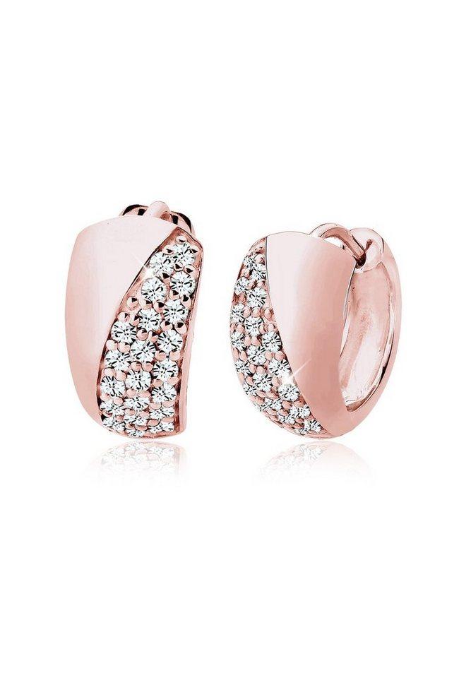Elli Ohrringe »Creolen Swarovski® Kristalle 925 Sterling Silber« in Rosegold