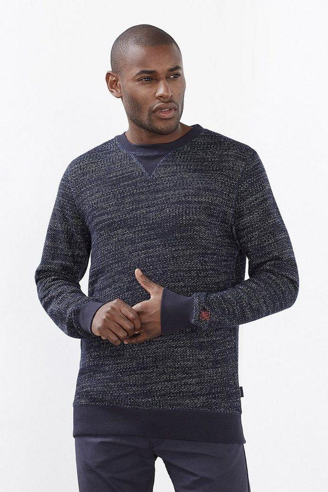 ESPRIT CASUAL Melange Sweatshirt aus Wolle/Baumwolle in NAVY