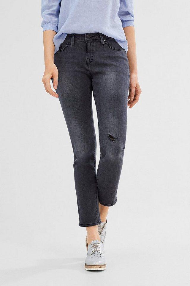 EDC Used Boyfriend Stretch-Jeans in BLACK DARK WASHED