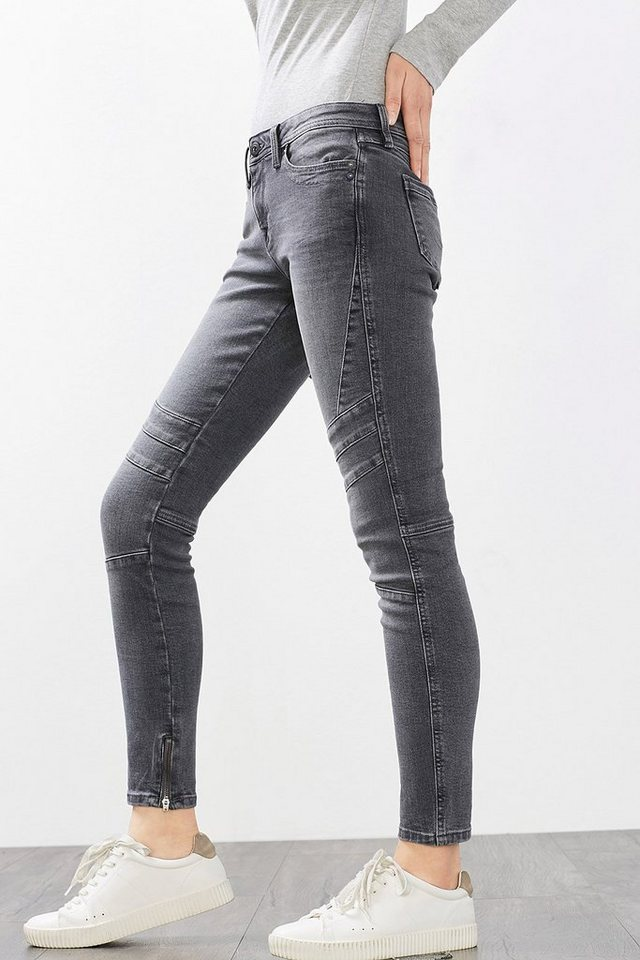 EDC Stretch-Jeans im Biker-Style in GREY MEDIUM WASHED