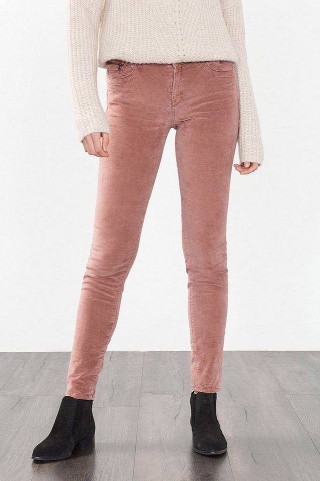 ESPRIT CASUAL Samthose mit Zippern, Baumwolle/Stretch in DARK OLD PINK