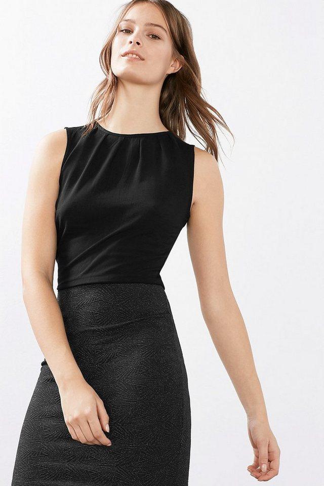 EDC Figurnahes Kleid im Materialmix in BLACK