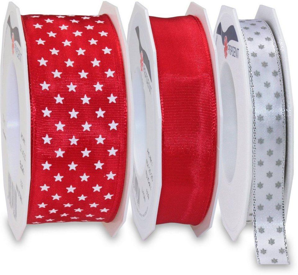 Präsent Schleifenbänder, 3 Rollen im Set, 65 m, »Advent« in rot, weiß