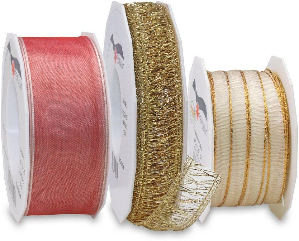 Präsent Schleifenbänder, 3 Rollen im Set, 75 m, »Romantik« in rosé/creme/gold
