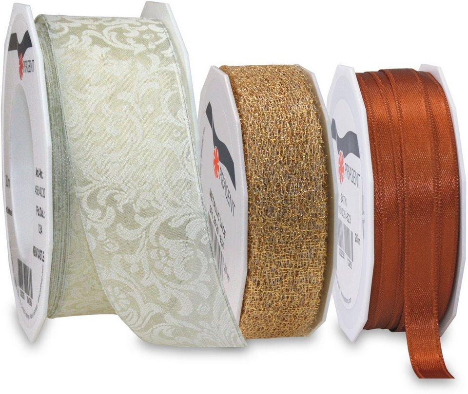 Präsent Schleifenbänder, 3 Rollen im Set, 65 m, »Kupfer« in kupferfarben/creme/goldfarben