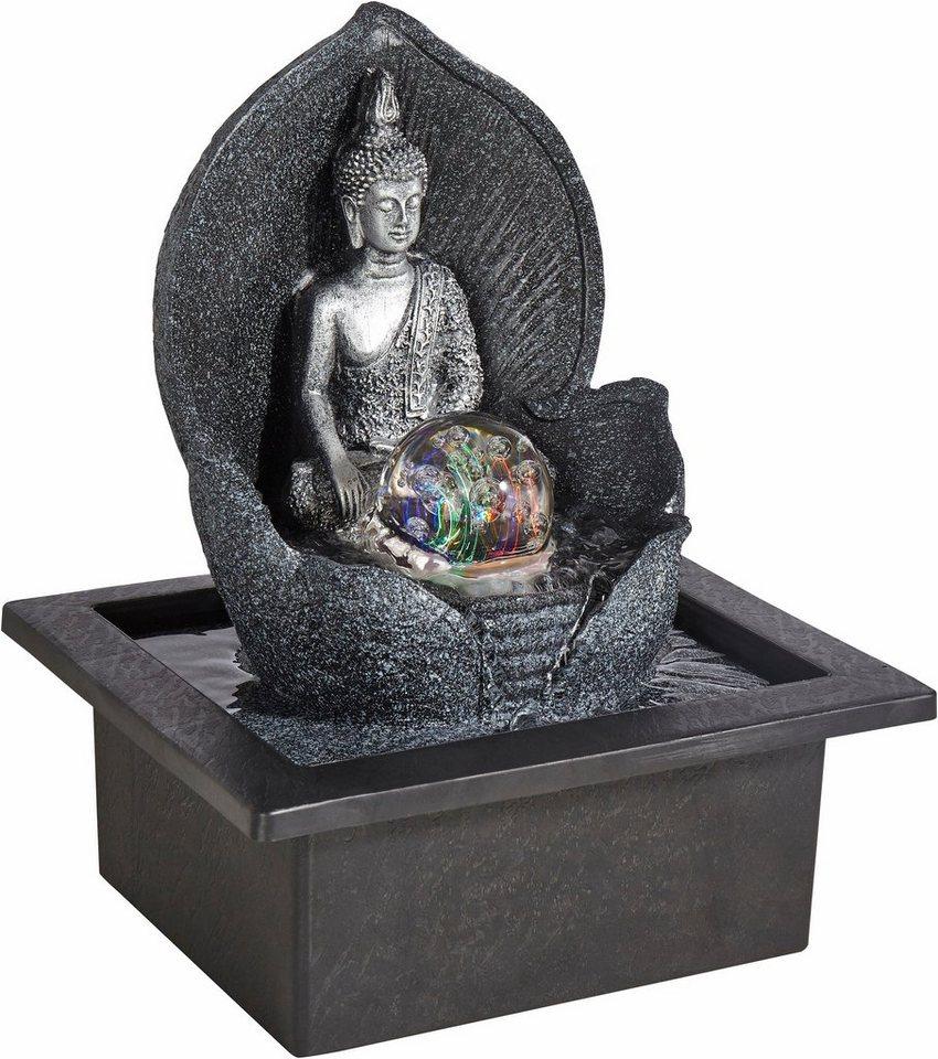 Home affaire Zimmerbrunnen »Silver Buddha« in schwarz