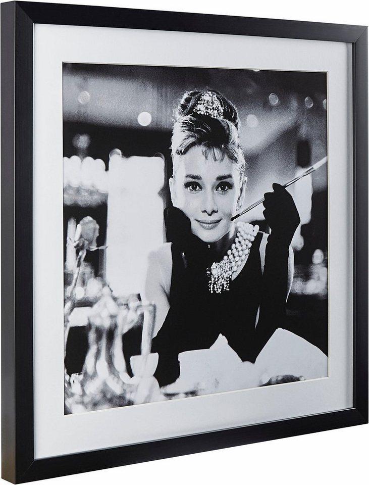 G&C gerahmte Fotografie »Celebrities: Audrey Hepburn Motiv 2«, 40/40 cm in Schwarz/weiß