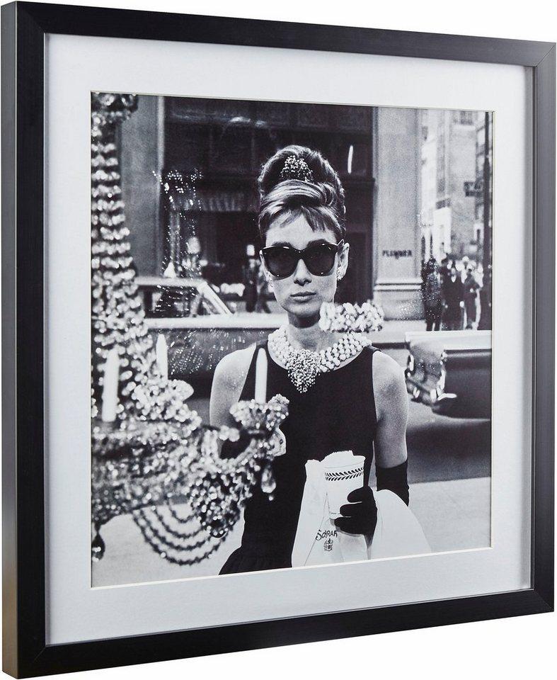 G&C gerahmte Fotografie »Celebrities: Audrey Hepburn Motiv 1«, 40/40 cm in Schwarz/weiß