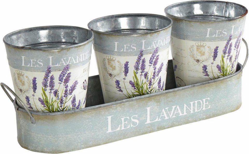 Home affaire Tablett mit 3 Töpfen »Lavendel« in bunt