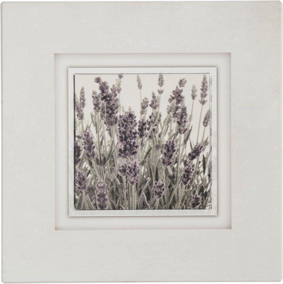Holzbild, Home affaire, »Lavendel«, 40/40 cm in beige/lila/gr