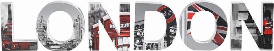 Kunststoffbuchstaben, Home affaire, »3D London«, (6-tlg.) in grau/rot