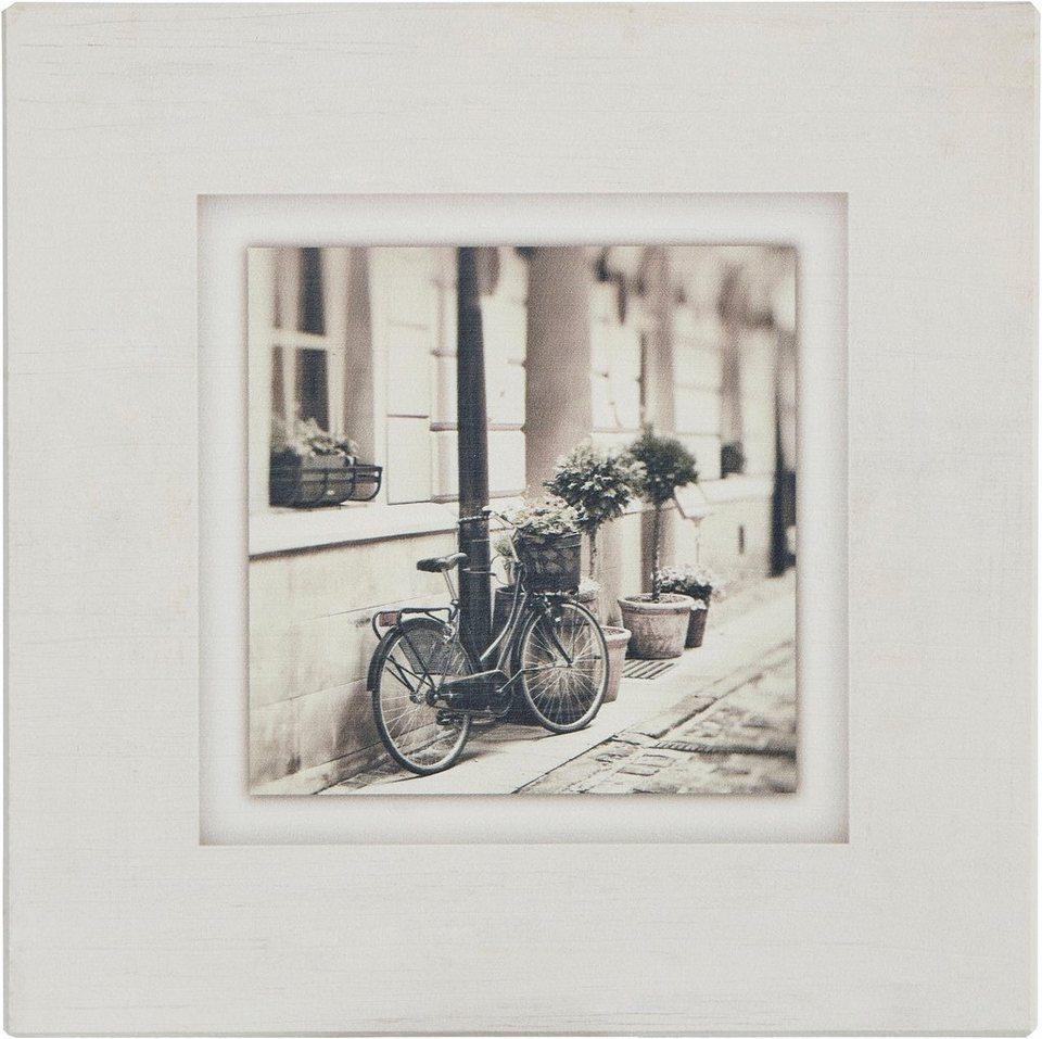 Holzbild, Home affaire, »Fahrrad an Hauswand«, 40/40 cm in beige/grau