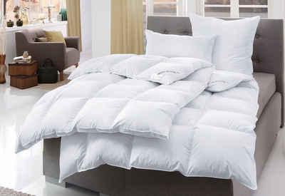 Bettdecke + Kopfkissen, »Swiss Royal«, Haeussling, Füllung: 90% Daunen, 10% Federn, Bezug: 100% Baumwolle, Optimale Wärmespeicherung
