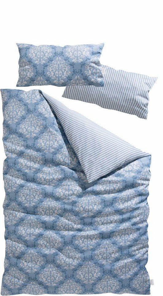 Wendebettwäsche, GMK Home & Living, »Tara«, mit Ornamenten und Streifen in rauchblau