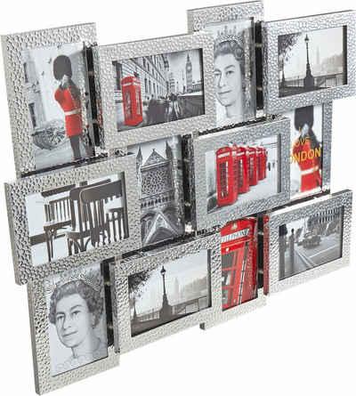 my home Galerierahmen, für 12 Bilder, Fotorahmen, aus Aluminium, silberfarben, Bildformat 10x15 cm