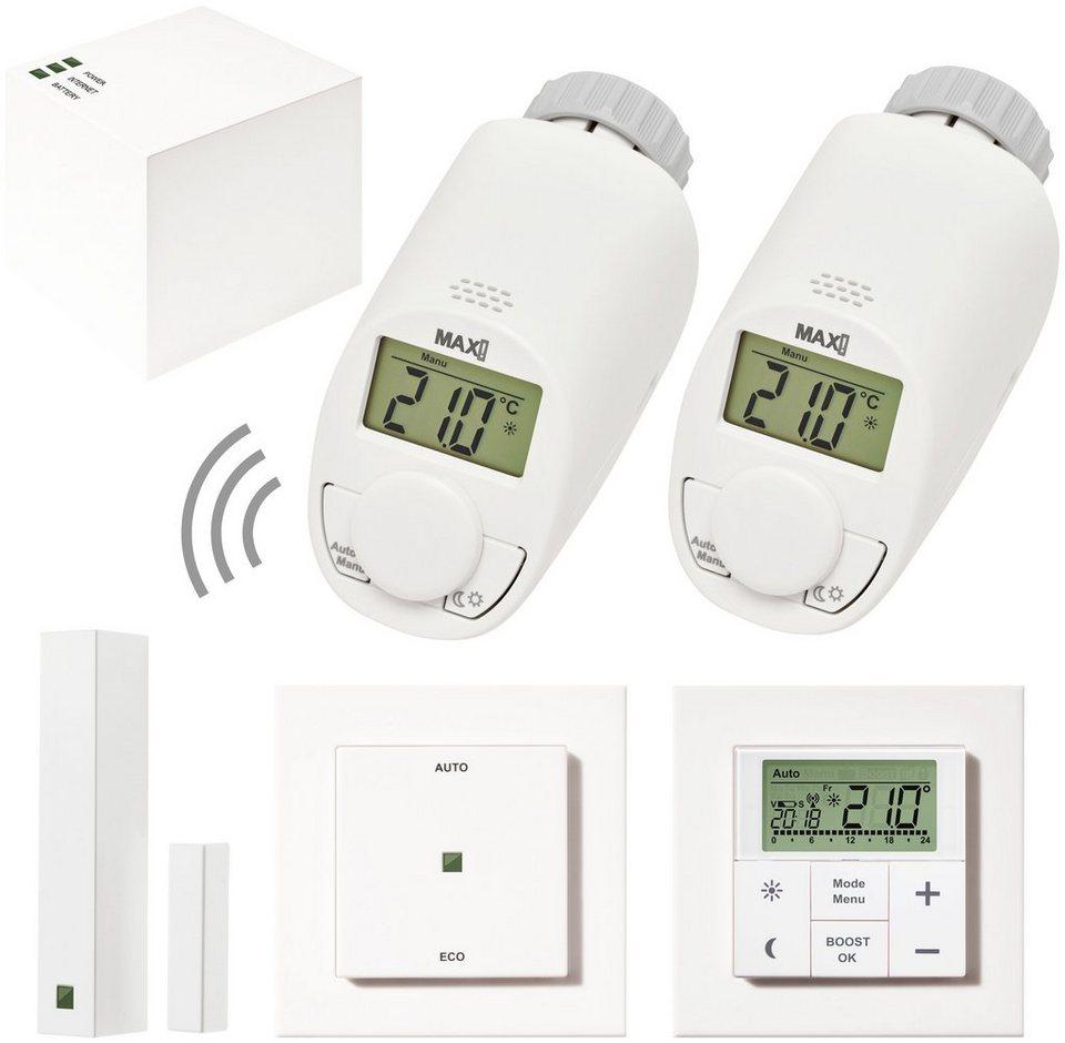 MAX! Smart Home Set »Hauslösung Premium«, 6-tlg., Heizkörperthermostat / Gateway / Fensterkontakt in weiß