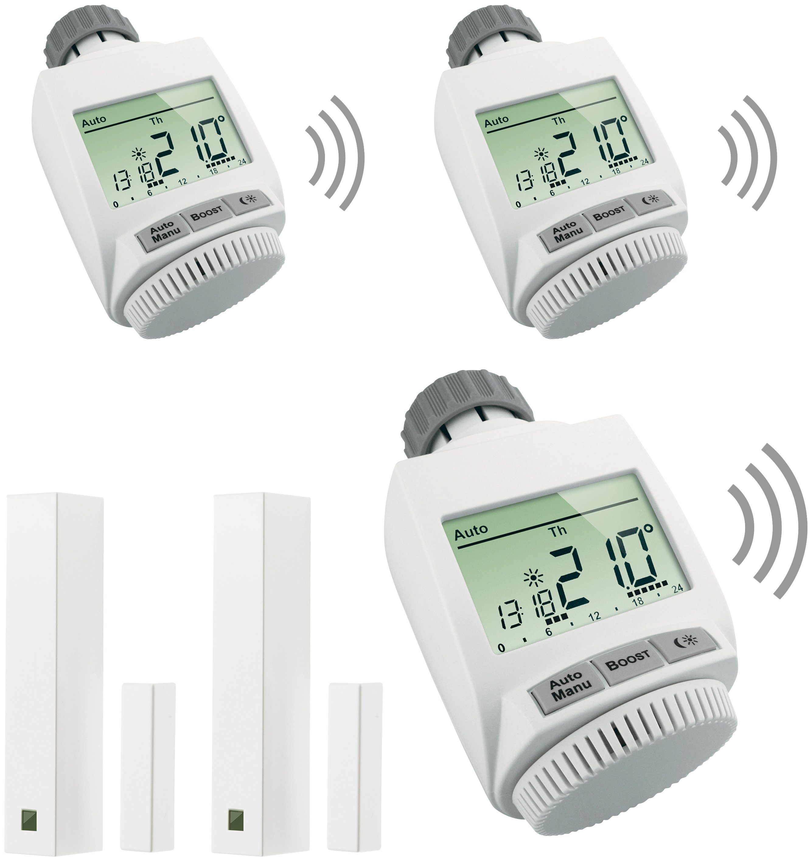 MAX! Smart Home Set »Heizkörperlösung Premium«, 5-tlg., Heizkörperthermostat / Fensterkontakt