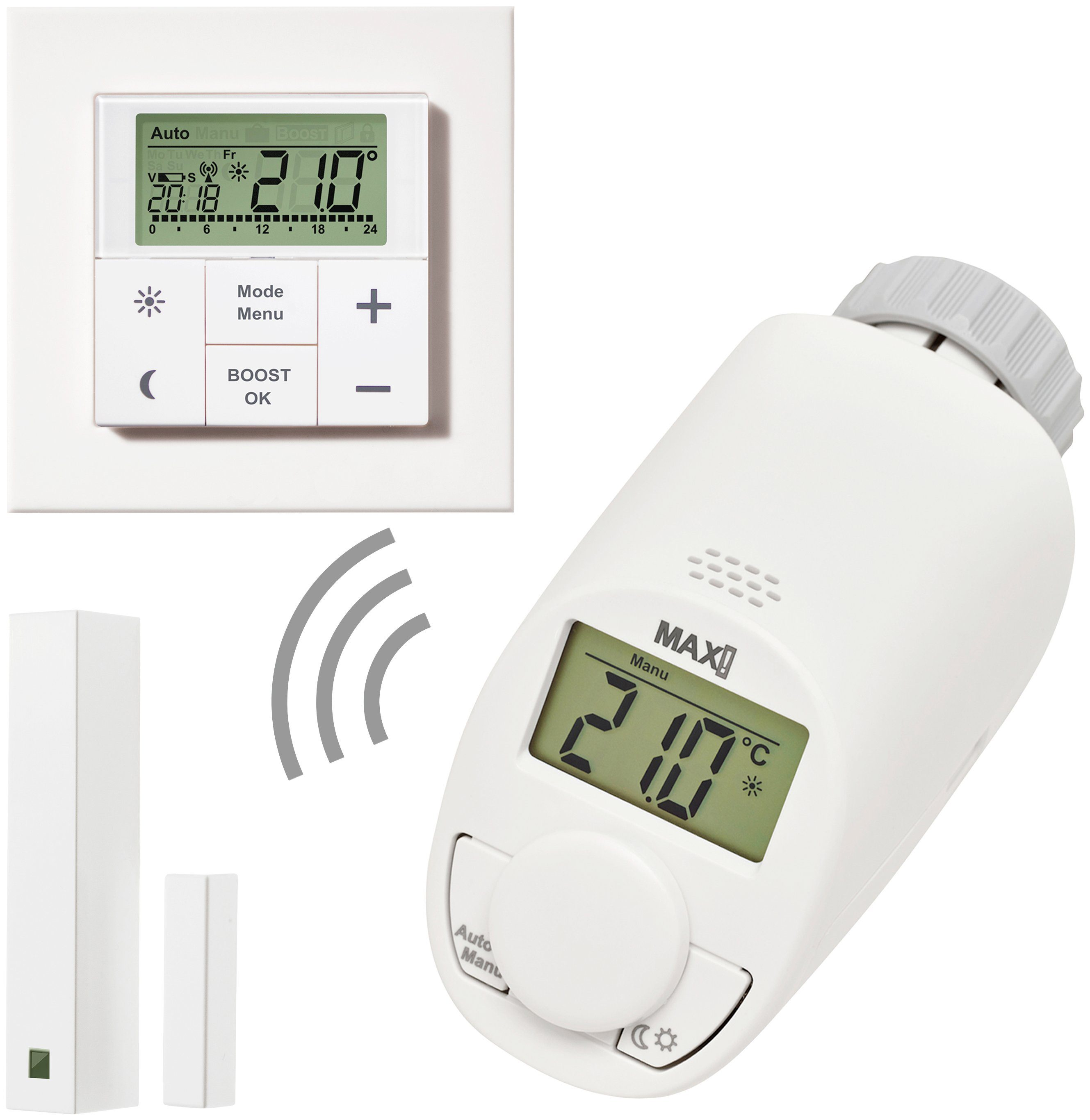 MAX! Smart Home Set »Raumlösung medium«, 3-tlg. Heizkörperthermostat / Wandthermostat /Fensterkontakt