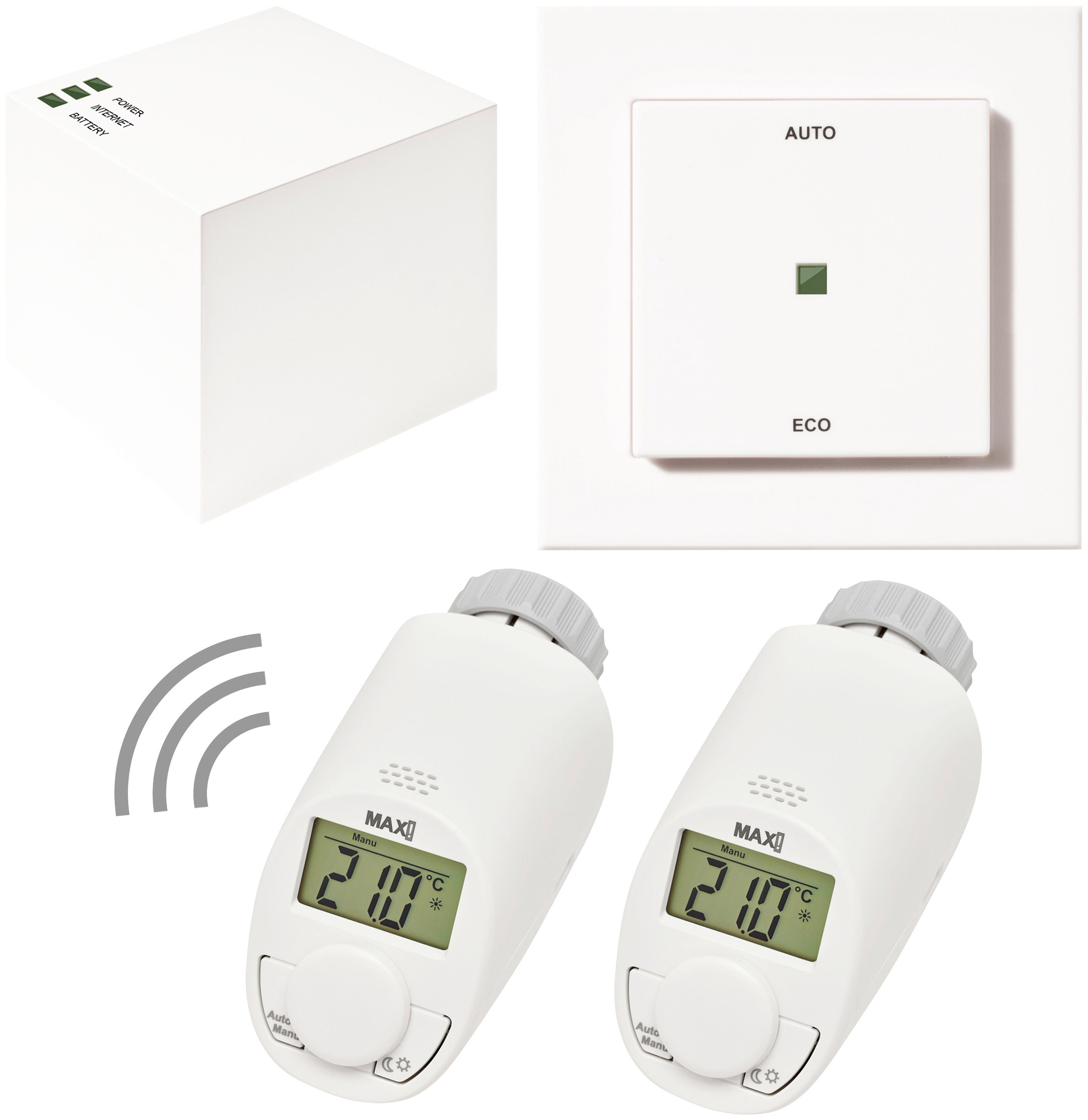 MAX! Smart Home Set »Hauslösung Eco«, 4-tlg., Heizkörperthermostat / Gateway / Eco-Taster