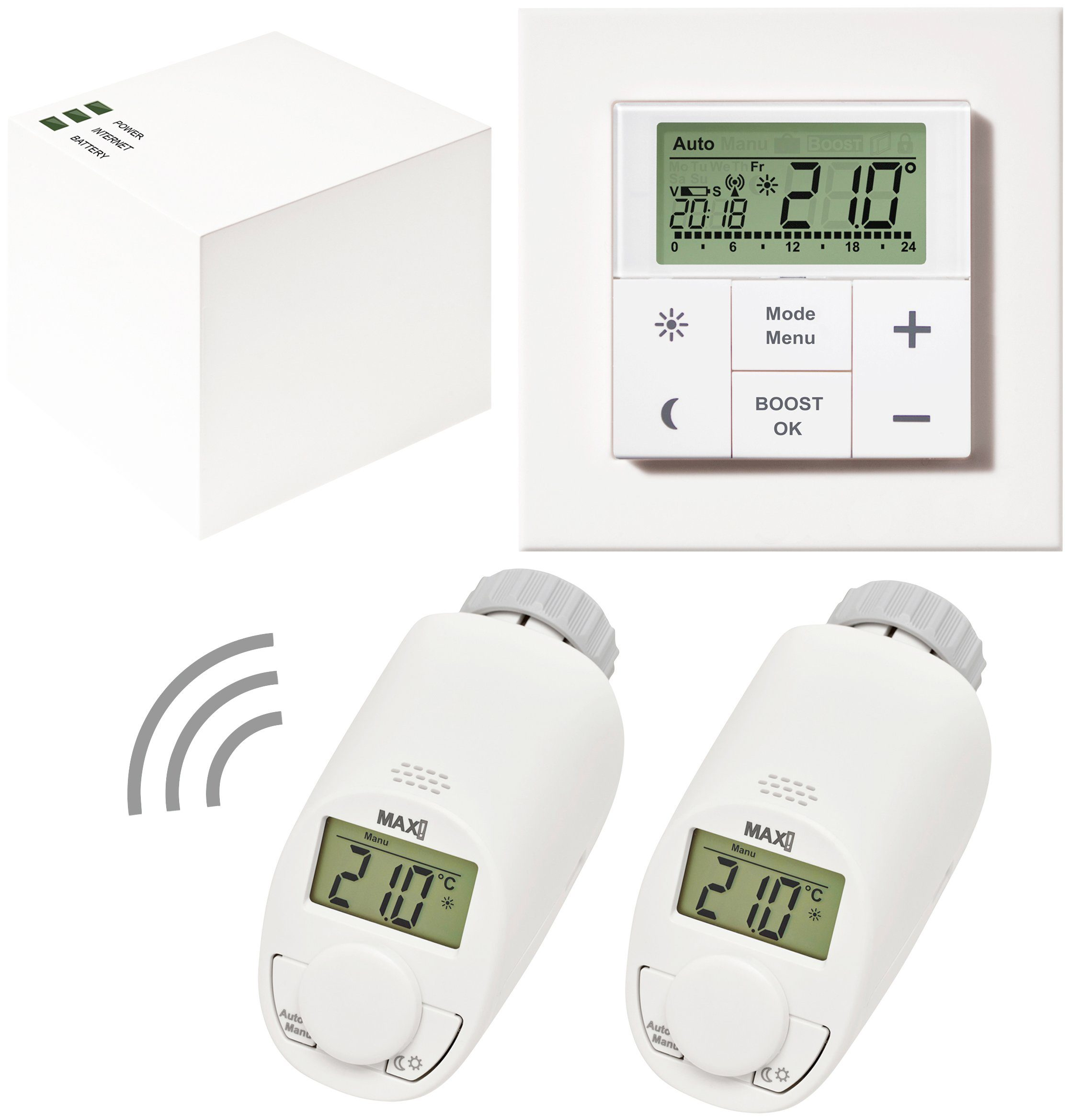 MAX! Smart Home Set »Hauslösung Comfort«, 4-tlg., Heizkörperthermostat / Gateway / Wandthermostat