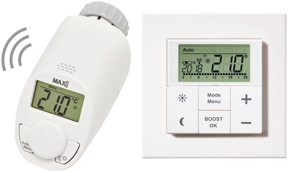 MAX! Smart Home Set »Raumlösung basic«, 2-tlg., Heizkörperthermostat / Wandthermostat in weiß