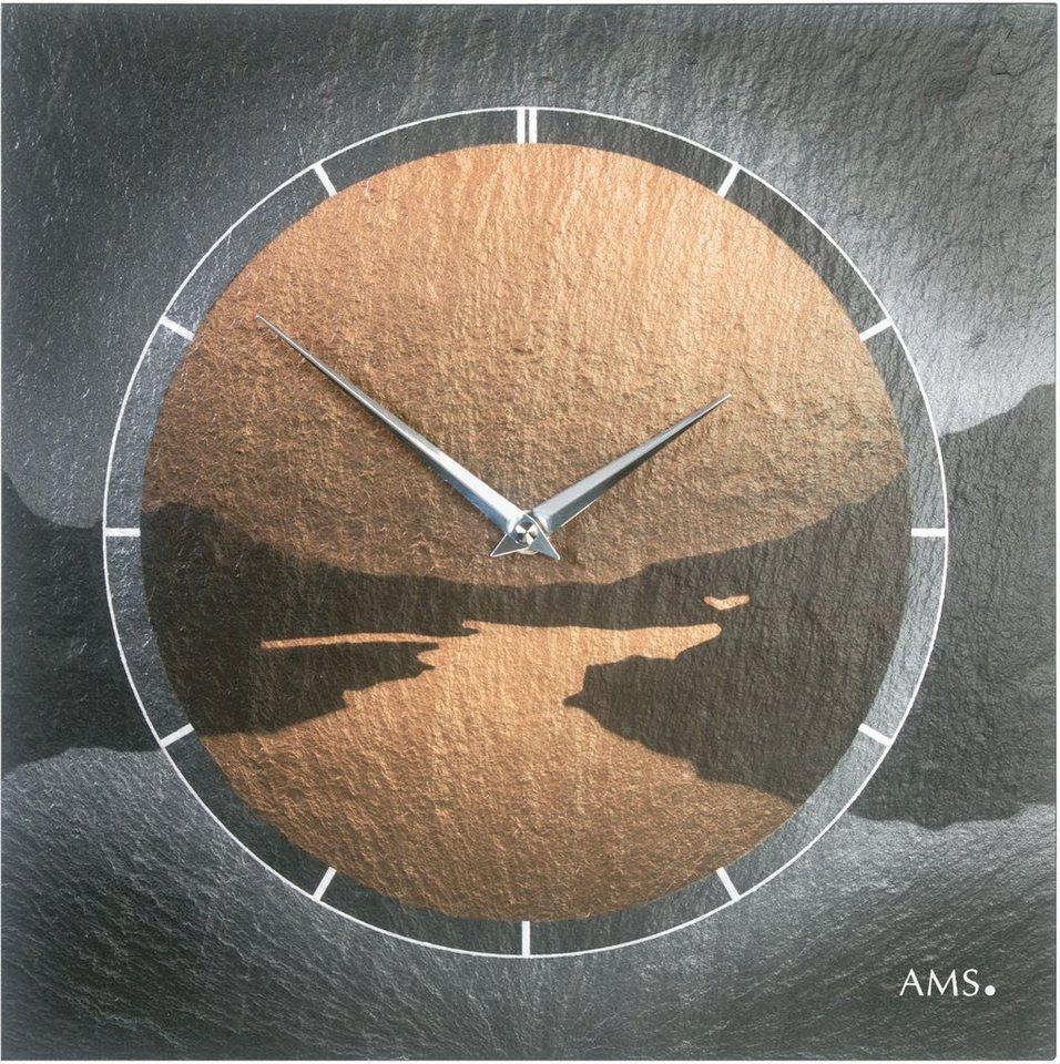 AMS Wanduhr, »W9513« in bronzefarben-schwarz
