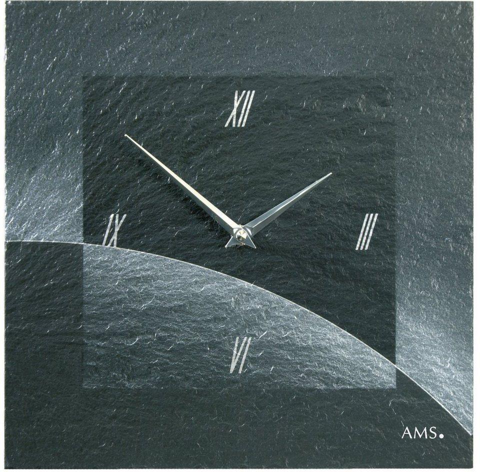 AMS Wanduhr, »W9518« in schwarz
