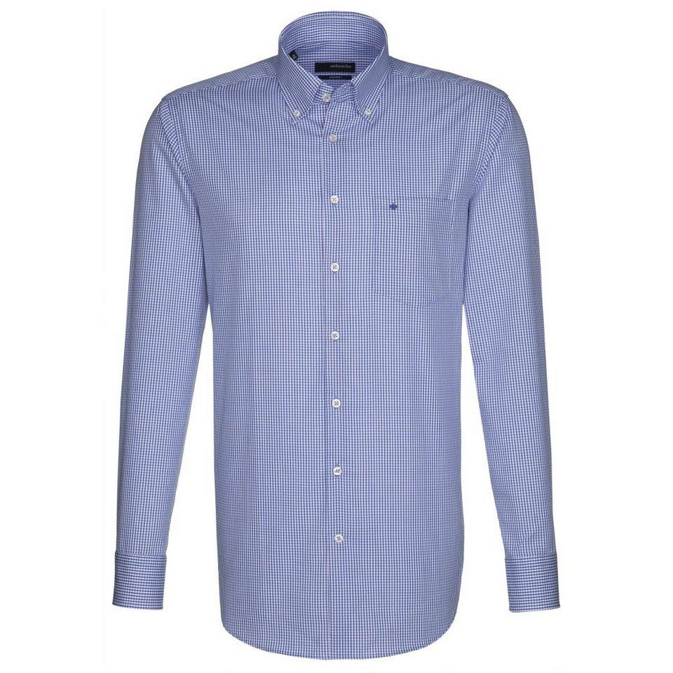 Seidensticker Businesshemd »modern« in blau-weiß-kariert