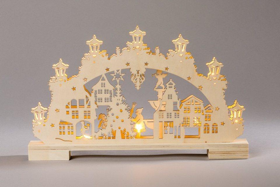 HGD Holz-Glas-Design Lichterbogen Winter in der Stadt mit LED-Beleuchtung