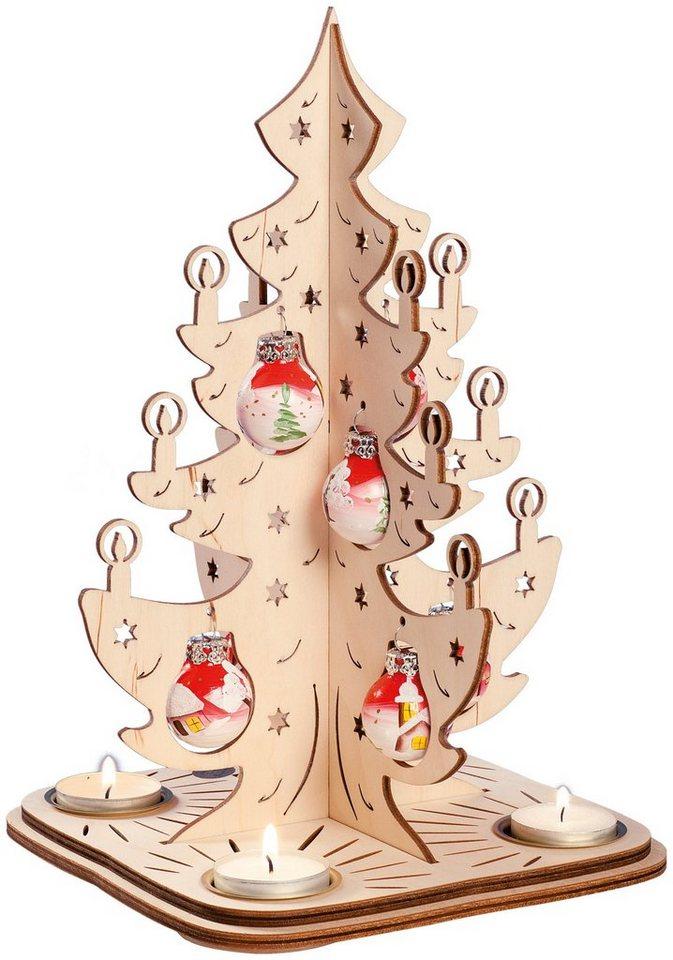 SAICO Original Leuchter Tannenbaum mit Glaskugeln in Glaskugeln rot