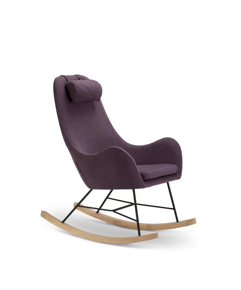 SalesFever Schaukelstuhl Sessel mit Armlehnen und Stoff bezogen »Rocha« in lila