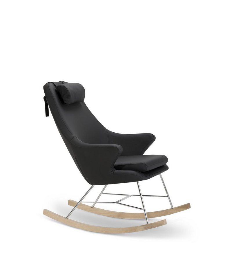 SalesFever Schaukelstuhl Sessel mit Armlehnen und Kunstleder bezogen »Rocho« in schwarz