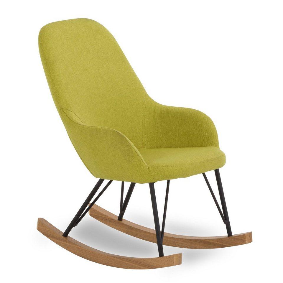 SalesFever Kinder Schaukelstuhl Sessel mit Armlehnen und Stoff bezogen »Bob« in grün