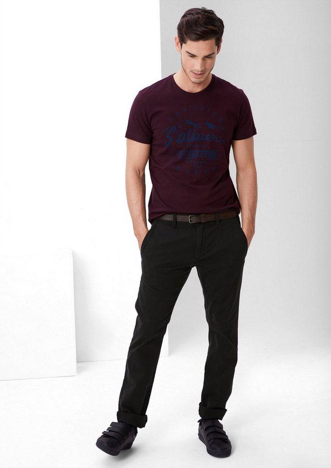 s.Oliver RED LABEL Sneck Slim: Stretch-Chino in black