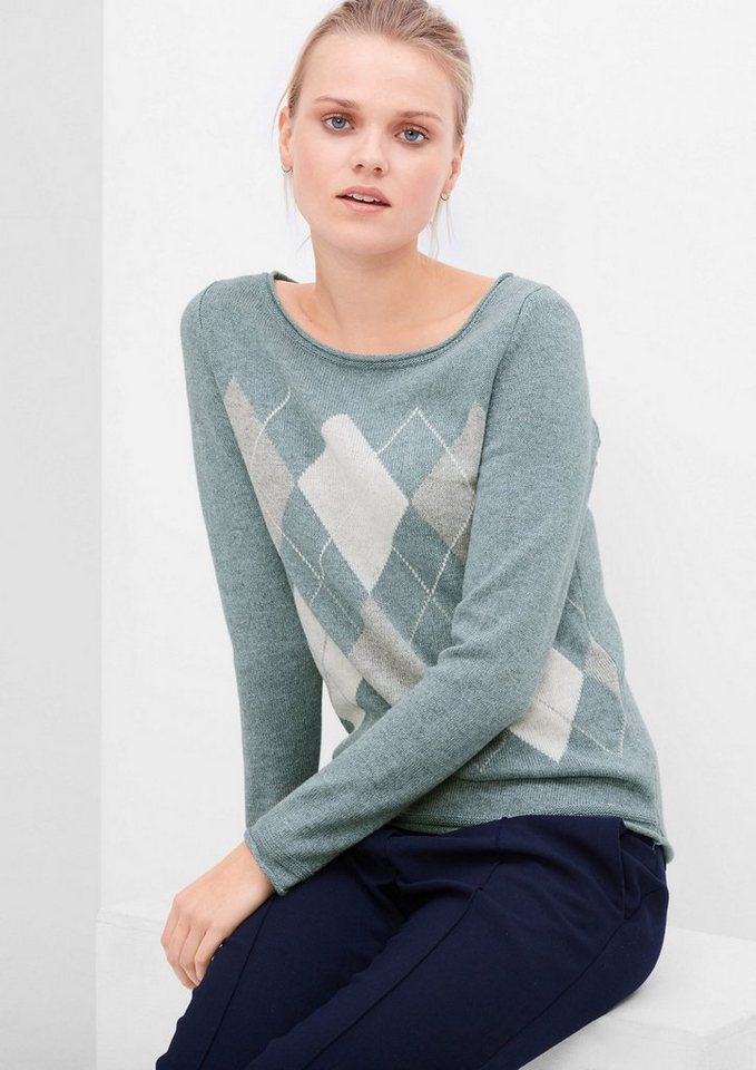 s.Oliver RED LABEL Strickpullover mit Argyle-Muster in dusty petrol knit