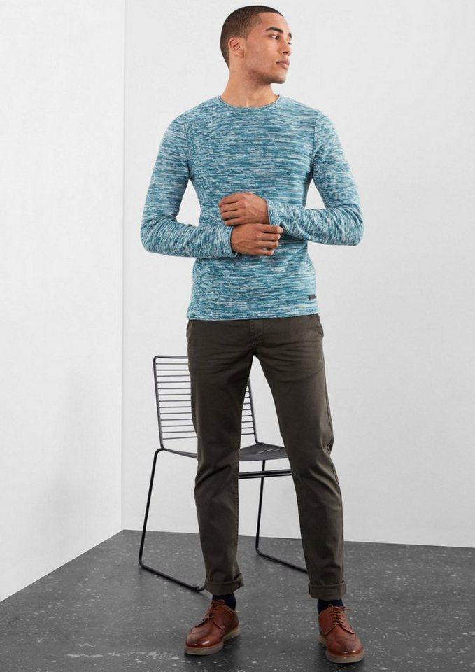 Q/S designed by Schmaler Melange-Pullover in orion blue melange