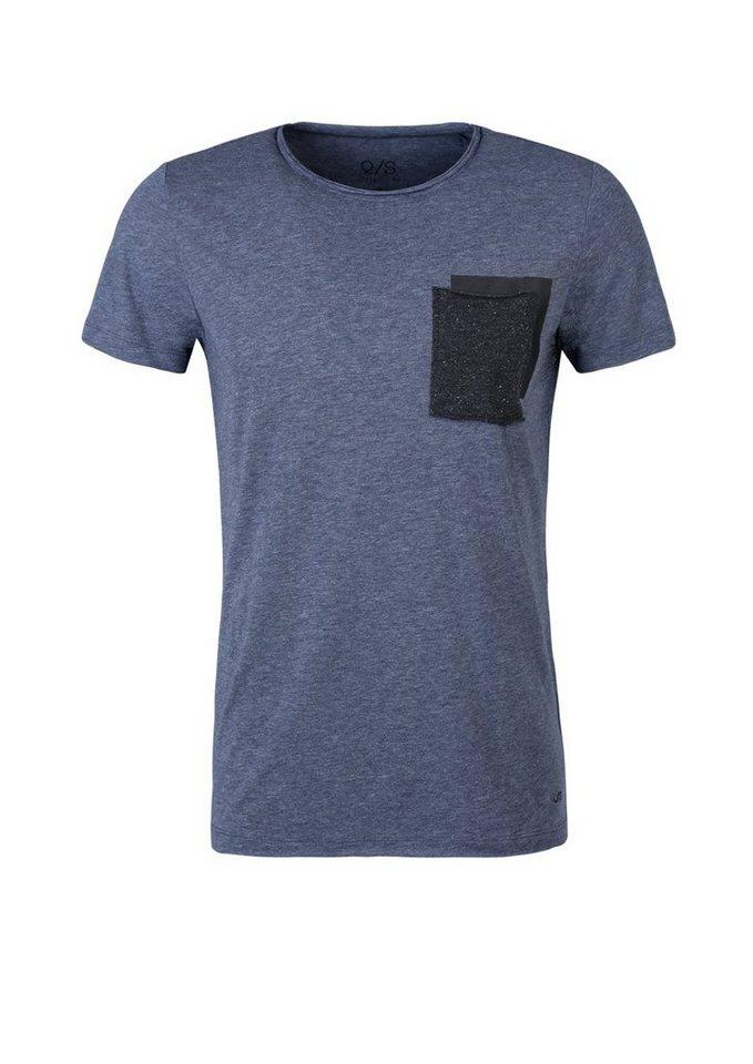 Q/S designed by Meliertes Shirt mit Kontrast-Tasche in blue nights melange
