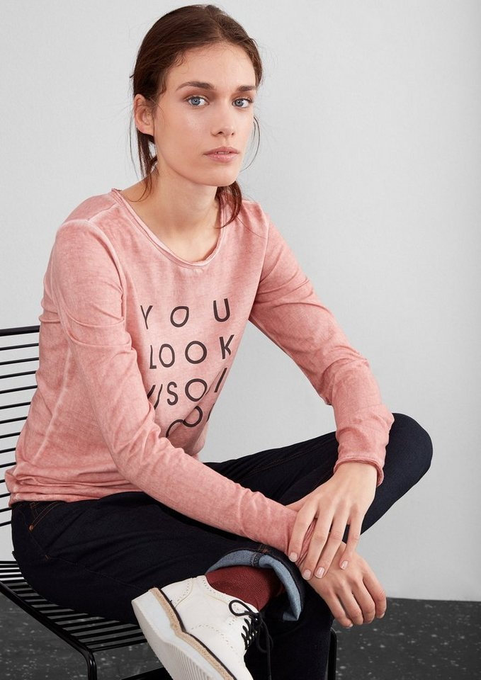Q/S designed by Statement-Shirt in Garment Dye in bermuda pink placed