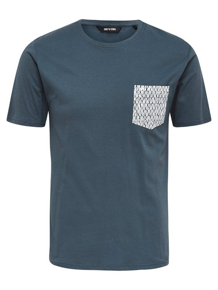 ONLY & SONS Detailliertes T-Shirt in Orion Blue
