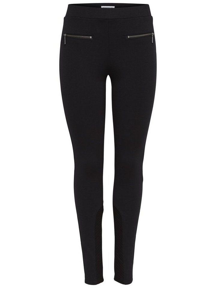 Only Reißverschluss- Leggings in Black