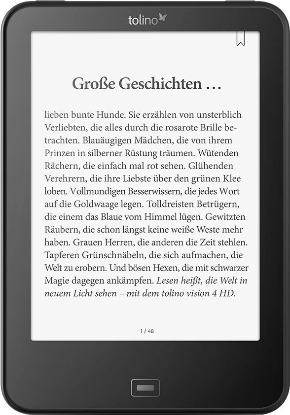 Vision 4 HD E-Book-Reader, Freescale i.MX6, 15,2 cm (6 Zoll), 512 MB in schwarz